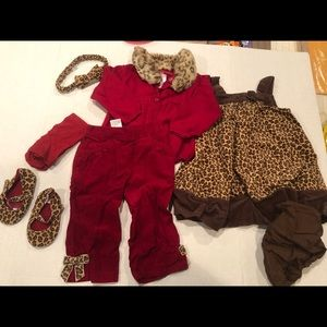 Gymboree leopard print lot with shoes 12-18 months